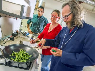 Scientists fry green beans at the range hood test facility